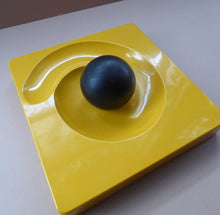 Load image into Gallery viewer, ARTEMIDE MILANO. 1969 Classic Italian Design by Eleonore Peduzzi Riva;  Spiral / Spyros Ashtray. Yellow Plastic with Black Ball