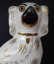 Load image into Gallery viewer, LARGE Antique Pair of Staffordshire Dogs Chimney Spaniels / Wally Dugs; 11 1/2 inches. Yellow glass eyes, 1880s