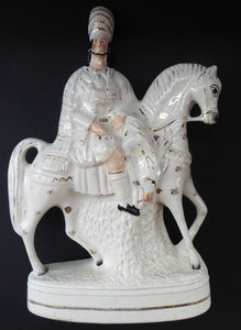 HUGE Antique Victorian STAFFORDSHIRE Figurine. Kilted Scotsman on Horseback. 14 inches height. Great Display Piece