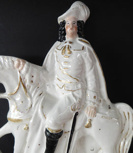 Antique Victorian STAFFORDSHIRE Figurine. Man on Horseback; 11 inches