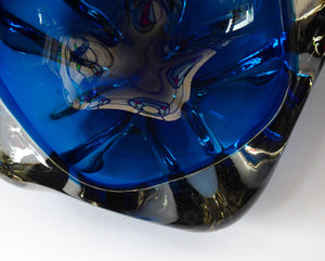Large WHITEFRIARS 1960s Rarer Blue Lobed Bowl designed by GEOFFREY BAXTER; 8 inches diameter