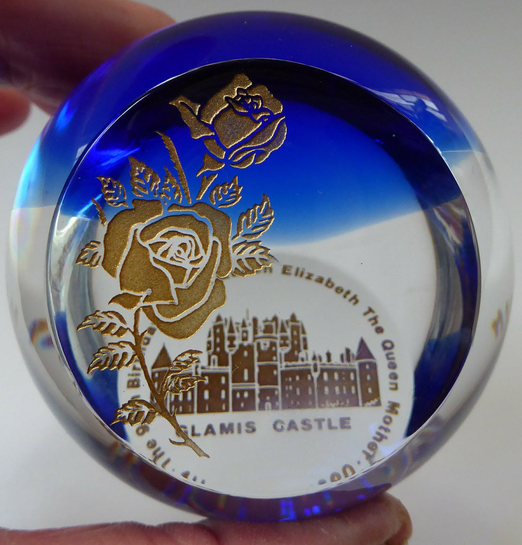 SCOTTISH GLASS Caithness Paperweight. 90th Birthday Issue for the Queen Mother. GLAMIS Castle and Rose