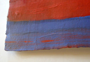 Frank Beanland (b. 1936)  Red / Blue Abstract Painting. Acrylic on paper (framed)  Signed on the reverse