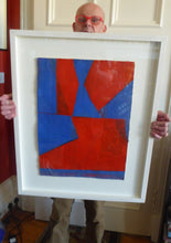 Load image into Gallery viewer, Frank Beanland (b. 1936)  Red / Blue Abstract Painting. Acrylic on paper (framed)  Signed on the reverse