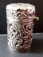Load image into Gallery viewer, Victorian ART NOUVEAU Solid Silver Hinged Lid Pot with Scrolling Foliage Pierced Decoration. Clear Glass Fitted Interior. Hallmarked 1900