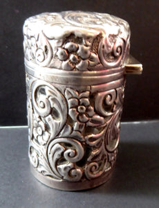 Victorian ART NOUVEAU Solid Silver Hinged Lid Pot with Scrolling Foliage Pierced Decoration. Clear Glass Fitted Interior. Hallmarked 1900