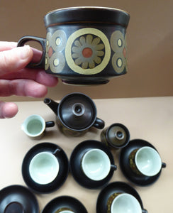 COMPLETE SET. Vintage 1960s DENBY Arabesque Tea Set. Teapot, Milk Jug, Lidded Sugar Bowl, Six Cups and Saucers