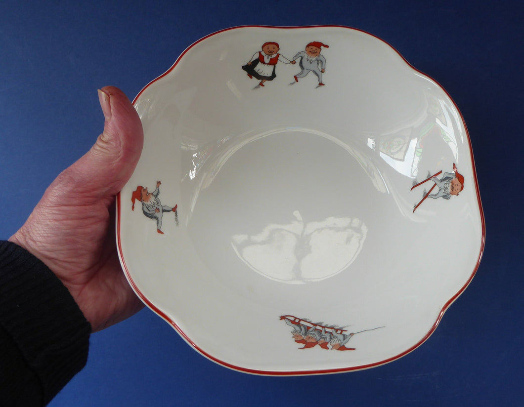 Vintage NORWEGIAN Porsgrund NISSE Elves or Gnomes Large Serving Bowl. Dated on the base 1993