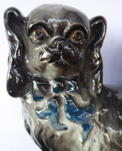 Load image into Gallery viewer, SCOTTISH POTTERY Antique Bo'ness Pekingese Mantle Dogs. Rarer Grey Pair with Blue Bows and Painted Eyes; 1909