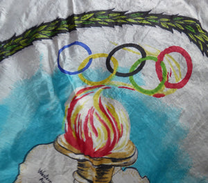 RARE 1950s Olympic Games Souvenir Head Scarf. Genuine Original Melbourne Olympic Games 1956