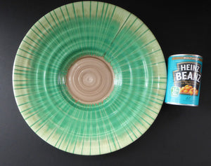 "ART DECO. Shelley Harmony  ""Dripware"" Charger. Emerald, Peppermint Green and Grey Hues. 14 inches in diameter"