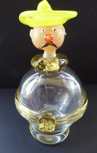 1950s ITALIAN MURANO Glass Decanter in the Form of a Little Mexican Gentleman Wearing a Yellow Sombrero