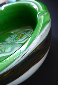 1960s MURANO BOWL or Ashtray. Heavy Sommerso Glass. Very unusual with Lime Green Interior, White Exterior and Streaky Decorative Banding