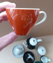Load image into Gallery viewer, Vintage 1950s German Schonwald Porcelain Coffee Set in Harlequin Colours