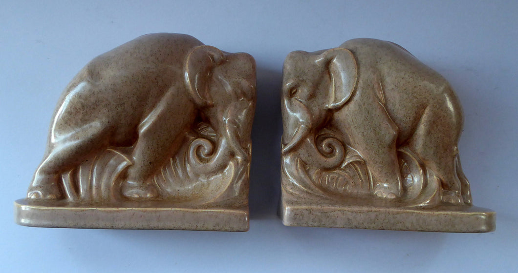 1930s ART DECO Poole. Pair of Carter, Stabler & Adams Elephant Bookends