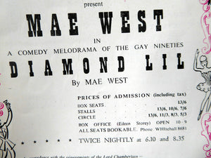"1948 MAE WEST ""Diamond Lil"" Theatre Programme. Rare Original Prince of Wales Theatre Issue in Good Condition"