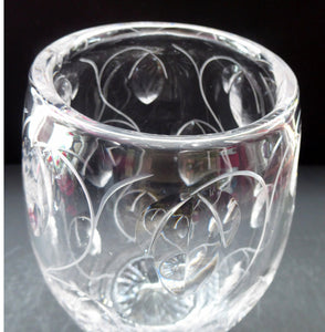 1950s Stuart Crystal Cut Glass Vase by JOHN LUXTON. Height 8 1/2 inches.