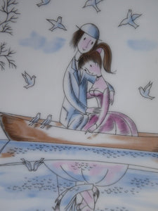 Vintage ROSENTHAL Large Dish. The Lovers by Peynet. Two Sweethearts Cuddle in a Rowing Boat on a Pond