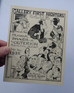 THEATRE HISTORY DOCUMENT:  The Gallery First Nighter's Club Annual Dinner Menu Card 1932