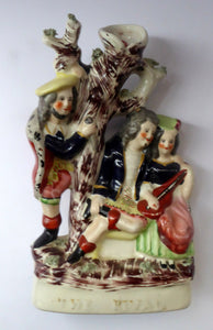ANTIQUE Victorian Staffordshire Flatback Figurine. THE RIVAL. Two Secret Lovers and Jealous Husband. Episode from Dante's Divine Comedy