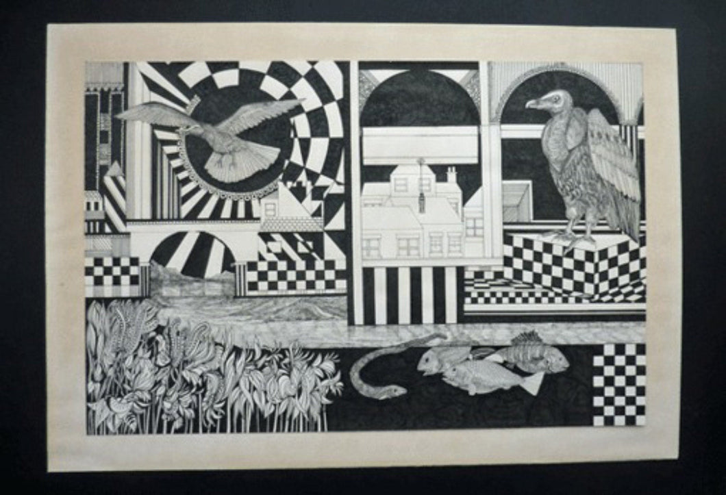 SCOTTISH ART: Vintage 1970s Drawing. SURREAL Image Fantastic Interior by Listed Artist Peter Dworok. Signed and dated 1976