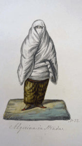 MALTESE ART. Early 19th Century Watercolour Costume Studies by Vincenzo Feneck. Algerian Lady with White Veil