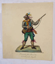 Load image into Gallery viewer, MALTESE ART. Early 19th Century Watercolour Costume Studies by Vincenzo Feneck. Neapolitan Bandit Brandishing a Musket