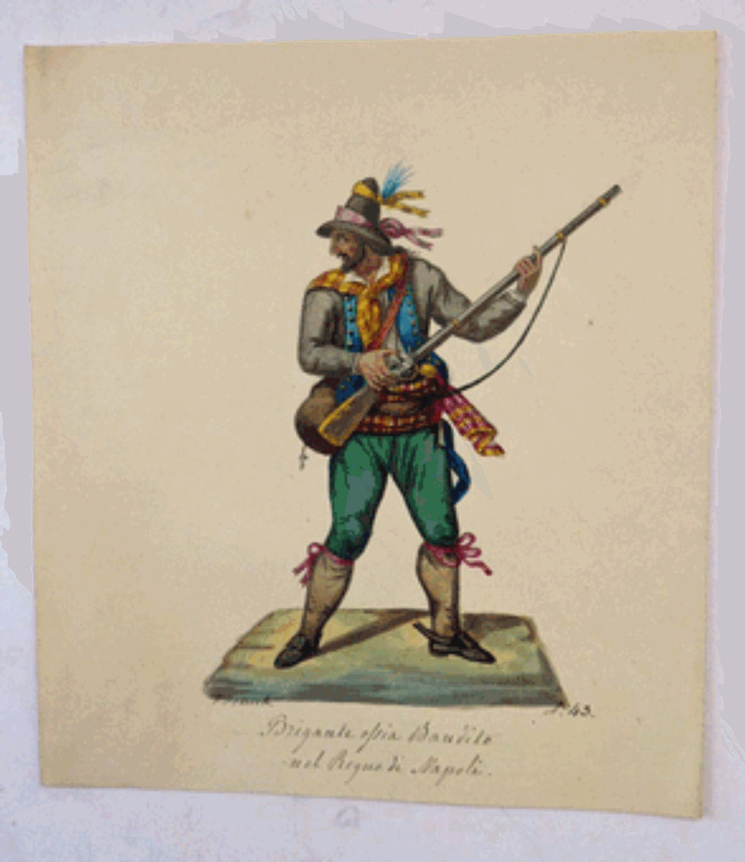 MALTESE ART. Early 19th Century Watercolour Costume Studies by Vincenzo Feneck. Neapolitan Bandit Brandishing a Musket