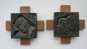 12 Stylised Vintage Cast Bronze Plaques Mounted on Oak Batons: The Stations of the Cross by R. Gourdan