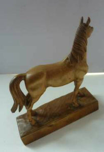 FAUST LANG (1887 - 1983) Rare Carved Miniature Figure of a Horse. Incised signature on the base