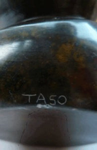 1993 SIGNED African Zimbabwe Shona Black Serpentine Hardstone Sculpture by Taso, 7 inches