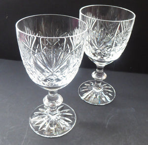 LARGE Pair of Vintage EDINBURGH CRYSTAL Wine Glasses. Iona Pattern. Etched mark for 1980s
