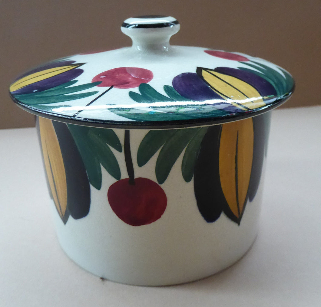 Scottish Pottery. RARE Robert Heron & Sons LANGTOUN WARE, Kirkcaldy. Lidded Dish - with Cherries and Floral Design