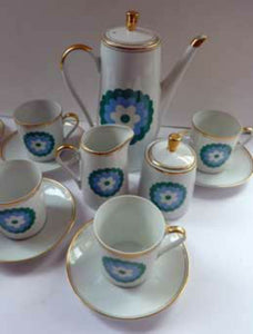 POLISH POTTERY: Stylish 1960s Walbrzych Polish Porcelain Coffee Set with Abstract Blue Flowers. Complete Set