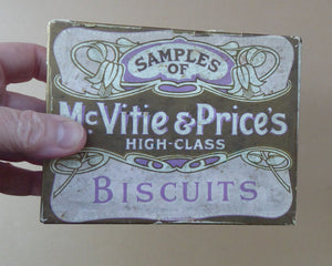 BISCUIT SAMPLES TIN. Early Art Nouveau Design with Print Paper Labels All Around. Good Condition for Age
