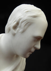 WALTER SCOTT. Fine Antique LARGE Parian Bust of the Scottish writer;  9 inches