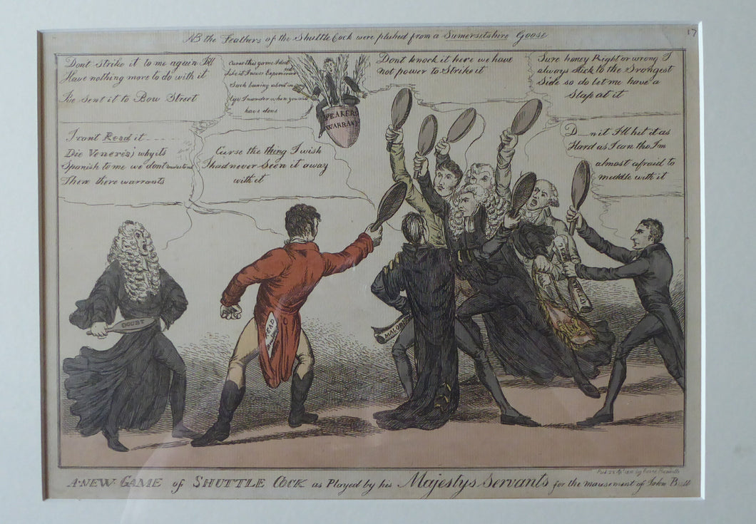 GEORGIAN PRINT. Satirical Print 1810. A New Game of Shuttle Cock ... for John Bull. Hand Coloured Etching. FRAMED