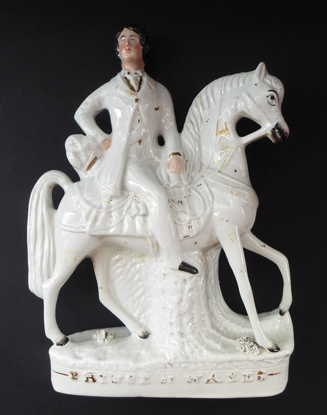 LARGE STAFFORDSHIRE Portrait of Edward VII; then the Prince of Wales on Horseback; 12 1/4 inches