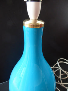 Vintage 1960s HOLMEGAARD Glass Lamp (RE-WIRED) with Original Neck Brass Fitting. Turquoise Blue Coloured Glass. 13 1/2 inches tall