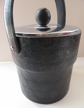 Load image into Gallery viewer, HUGE 1970s Ice Bucket. White Plastic Interior with Embossed Black Polka Dot Exterior; Chrome Lid with Bobble Knop