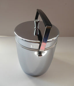 1970s JAPANESE SPACE AGE Ice Bucket. Shiny Chrome Finish with Black & Chrome Swing Handle