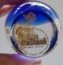 Load image into Gallery viewer, SCOTTISH GLASS Caithness Paperweight. 90th Birthday Issue for the Queen Mother. GLAMIS Castle and Rose