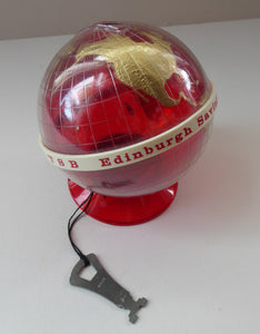 Original 1960s Issue Money Bank in the Form of a World Globe. Made in Finland for Edinburgh Savings Bank
