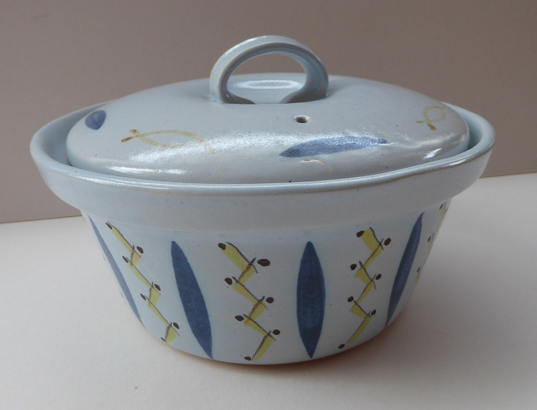 1950s Scottish Pottery BUCHAN Stoneware Lidded Serving Dish: Vintage HEBRIDES Pattern