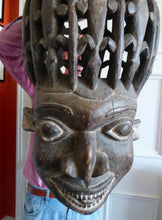 Load image into Gallery viewer, MASSIVE SIZE. Vintage Early / Mid 20th Century Cameroon Bamileke Wooden Helmet Mask with Carved Crocodile Headress