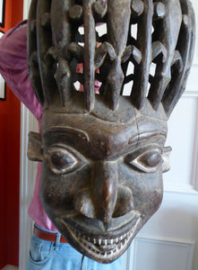 MASSIVE SIZE. Vintage Early / Mid 20th Century Cameroon Bamileke Wooden Helmet Mask with Carved Crocodile Headress