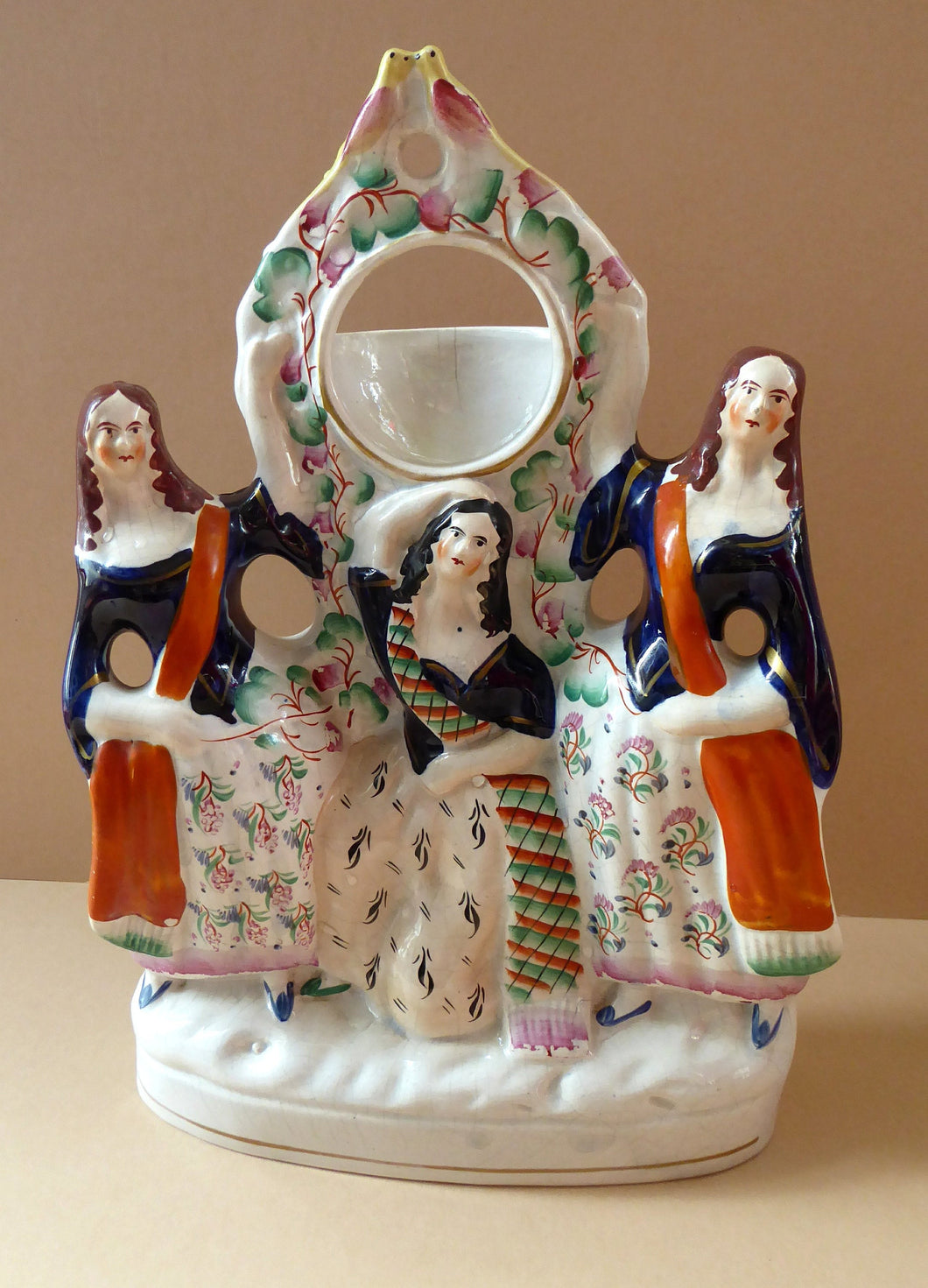 Antique STAFFORDSHIRE POTTERY Pocket Watch Holder. Group of Three Ladies Standing beside a Fruiting Vine Bough. Twin Birds on Top; c 1880s