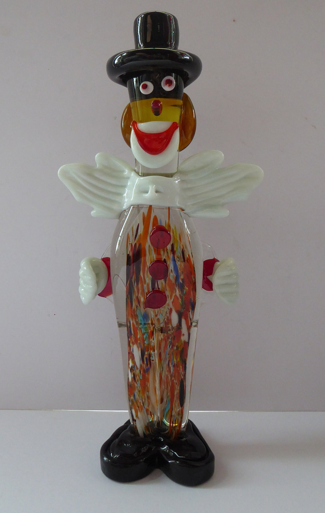 LARGE 12 3/4 inches Vintage MURANO GLASS Clown. Black Top Hat and Massive White Bow