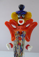 Load image into Gallery viewer, LARGE 11 3/4 inches Vintage MURANO GLASS Clown. Blue Top Hat and Massive Butterfly Like Orange Bow