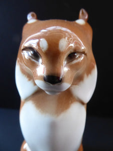 Vintage RUSSIAN USSR Lomonosov Porcelain Lynx or Wild Car Figurine. 8 1/4 inches in height
